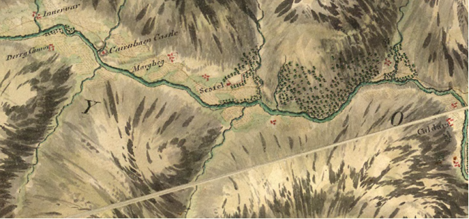 """1747 Roy's Military Map of the Highlands showing """"Sestel"""""""