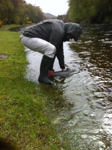 Brian Hall returning his salmon
