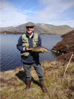John Moorby's 3 3/4lb brown trout caught in the Hill Loch